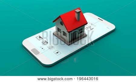 Small house on a smartphone on green background. 3d illustration