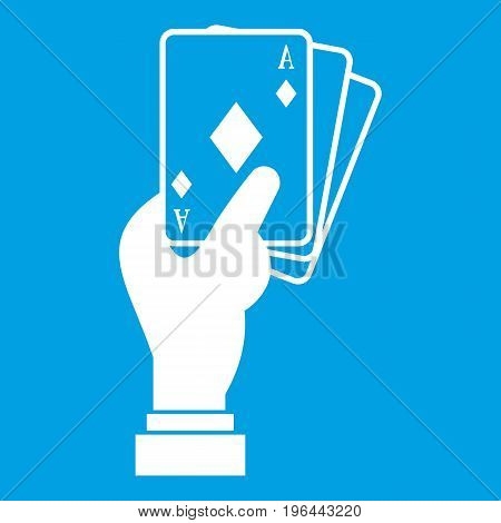 Hand holding playing cards icon white isolated on blue background vector illustration