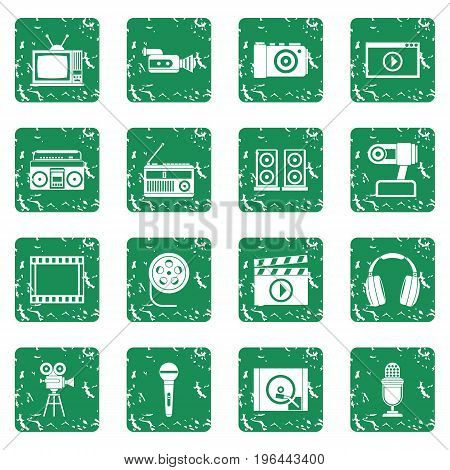 Audio and video icons set in grunge style green isolated vector illustration