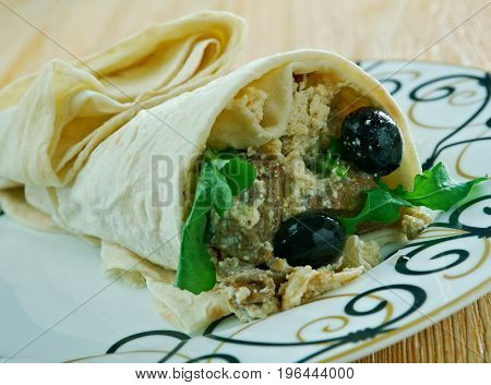 Moroccan Flatbread Wraps With Harissa