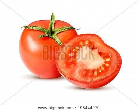 Sliced fresh tomatoes isolated on white background with clipping path.