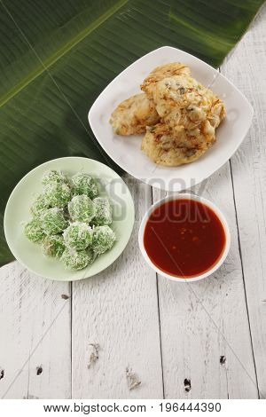 Top view malaysia traditional food kueh ondeh ondeh and cucuk sayur