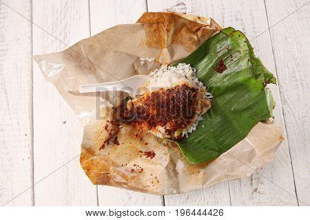 open package hawker food nasi lemak