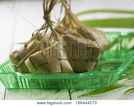bunch of the ketupat on the green tray