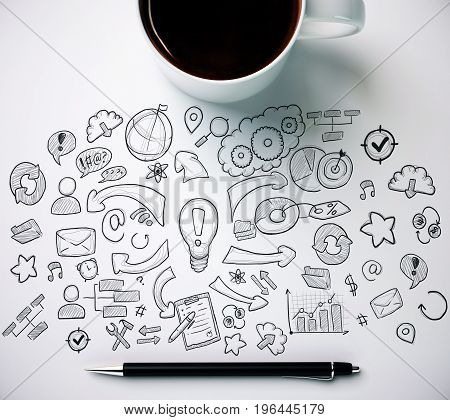 Top view of white desktop with coffee mug pen and business sketch. Solution concept. 3D Rendering