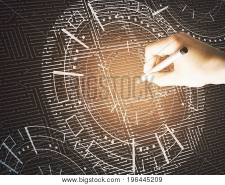 Hand drawing abstract glowing digital business interface. Technology analytics and media concept. 3D Rendering