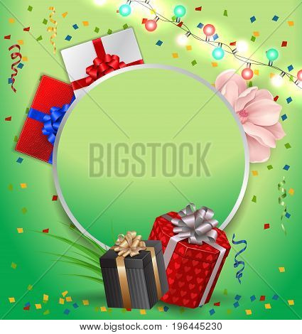 Blank greeting card with round frame, gifts and garland. For greeting cards, posters, leaflets and brochures.