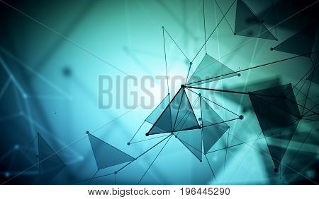 Abstract mesh wireframe connected point blue polygonal wallpaper. Technology innovation and network concept. 3D Rendering