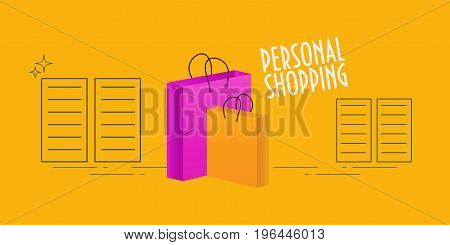 Vector illustration for personal shopper promotion: shopping bags and shop shelves. Text Personal Shopping.