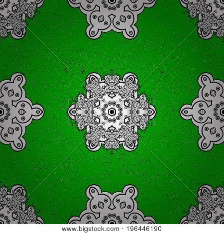 Elements on green and white background. Damask pattern repeating background. White green and white floral ornament in baroque style.