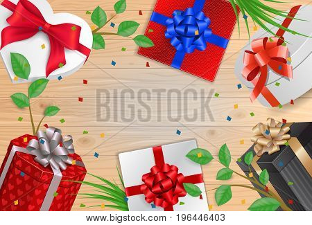 Frame of gifts with ribbons on wooden planks. For greeting cards, posters, leaflets and brochures.