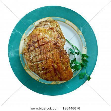 Flaeskesteg Danish Roast Pork with Crackling for Christmas.Danish cuisine
