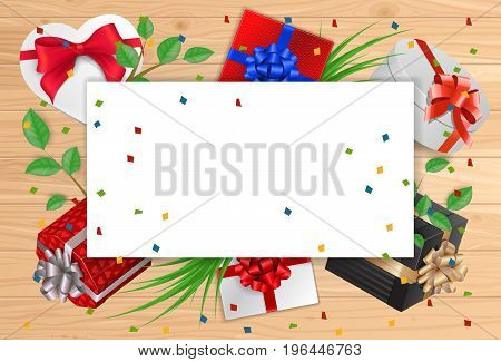 Blank greeting card with paper sheet, gifts and ribbons on wooden planks. For greeting cards, posters, leaflets and brochures.