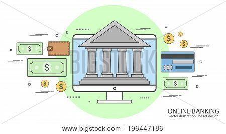 Color line icons on the theme of internet banking, online payment, vector illustration