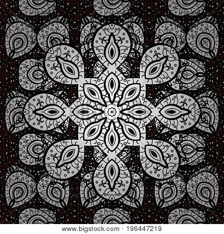 Seamless oriental ornament in the style of baroque. Traditional classic vector white seamless pattern. White elements on brown background.