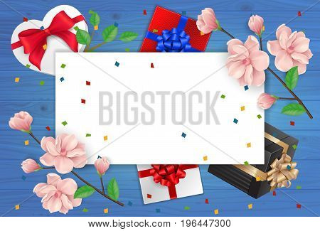 Blank greeting card with paper sheet, gifts and twigs on wooden planks. For greeting cards, posters, leaflets and brochures.