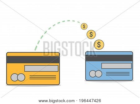 Sending and receiving money wireless with their credit card. Vector illustration, modern flat business concepts style isolated on white background.