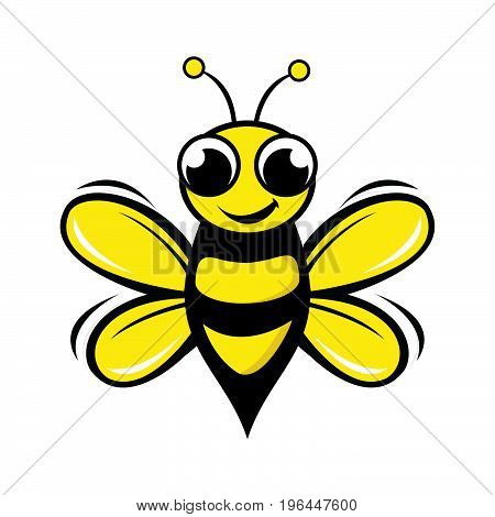 Honey bee vector design. Vector illustration flying bee in flat style.