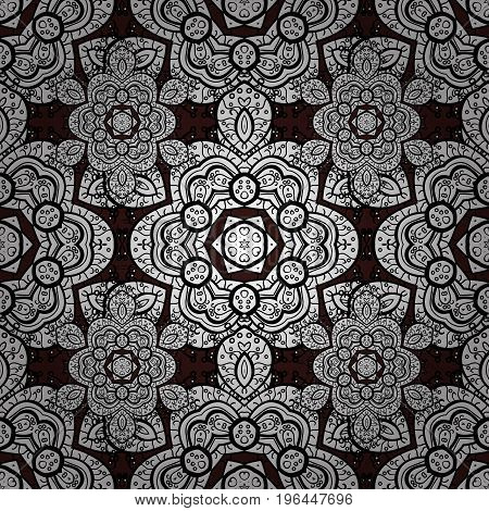 Vector hand-drawn mandala colored abstract pattern on a brown background.