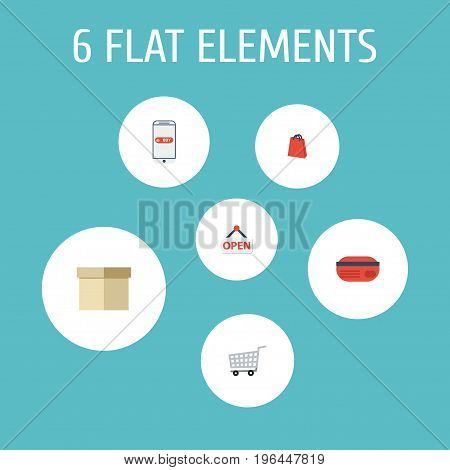 Flat Icons Purchase, Sign, Case And Other Vector Elements