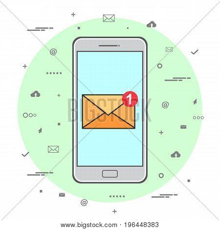 Sending or receiving email. E-mail marketing concept. Line Art design. Vector illustration