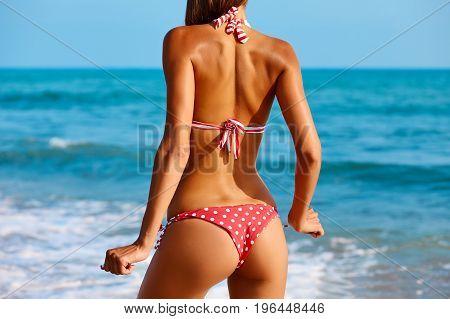 Sexy Back Of A Beautiful Woman Posing In In Colorful Swimwear Bikini At The Sea Coast. Exotic Countr