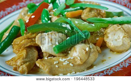 humo Grilled chicken breast. Uighur cuisine close up meal