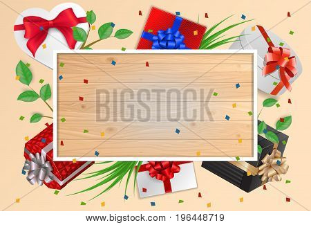 Blank greeting card with wooden planks frame, gifts and ribbons. For greeting cards, posters, leaflets and brochures.