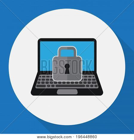 Vector Illustration Of Security Symbol On Laptop Flat Icon