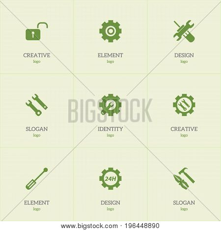 Set Of 9 Editable Toolkit Icons. Includes Symbols Such As Opened Padlock, Pliers Hammer, Settings And More
