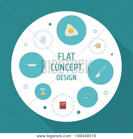 Flat Icons Soup Spoon, Dish, Kitchen Measurement And Other Vector Elements