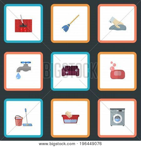Flat Icons Foam, Sofa, Besom And Other Vector Elements