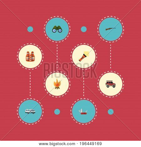 Flat Icons Penknife, Caravan, Lighter And Other Vector Elements