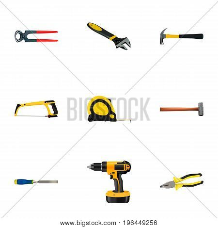 Realistic Electric Screwdriver, Tongs, Wrench And Other Vector Elements