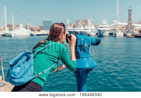 Tourist Woman In The Port Of Barcelona, Catalonia, Spain. Scenic Seascape Of Marina And Sailboats Ya