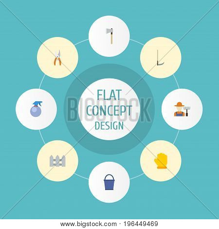 Flat Icons Pruner, Spray Bottle, Bucket And Other Vector Elements