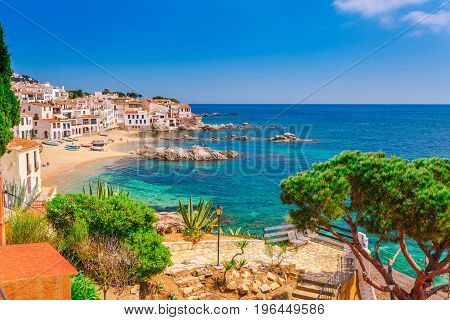 Sea Landscape With Calella De Palafrugell, Catalonia, Spain Near Of Barcelona. Scenic Fisherman Vill