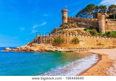 Sea Landscape Badia Bay In Tossa De Mar In Girona, Catalonia, Spain Near Of Barcelona. Ancient Medie