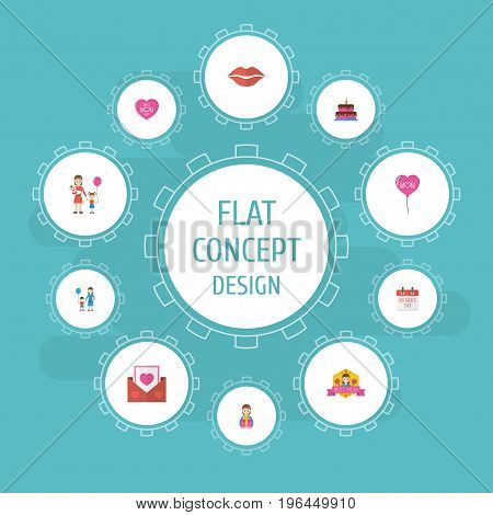 Happy Mother's Day Flat Icon Layout Design With Son, Decoration And Best Mother Ever Symbols