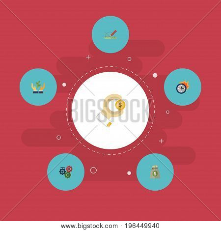 Flat Icons Limit, Design, Coin And Other Vector Elements