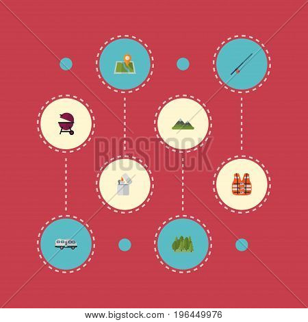Flat Icons Lifesaver, Barbecue, Caravan And Other Vector Elements