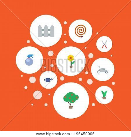 Flat Icons Scissors, Lawn Mower, Spray Bottle And Other Vector Elements