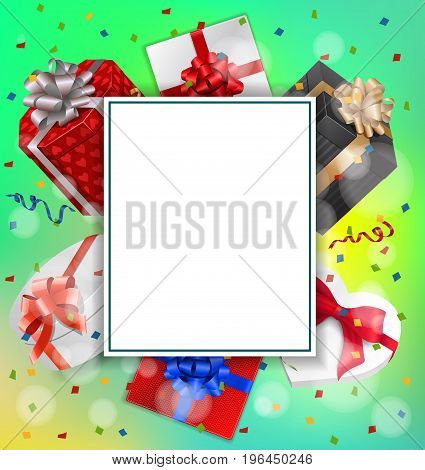 Blank greeting card with paper sheet, gifts and ribbons. For greeting cards, posters, leaflets and brochures.