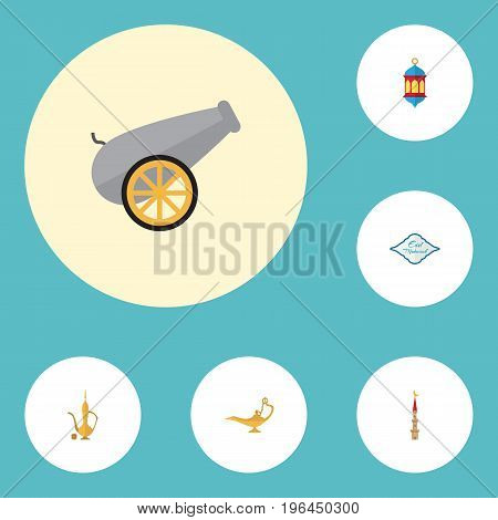 Flat Icons Pitcher, Mosque, Genie And Other Vector Elements