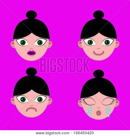 Set of emotions female smileys isolated on purple background.