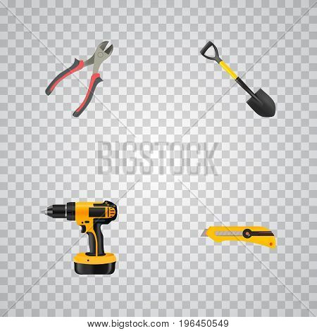 Realistic Electric Screwdriver, Forceps, Stationery Knife And Other Vector Elements