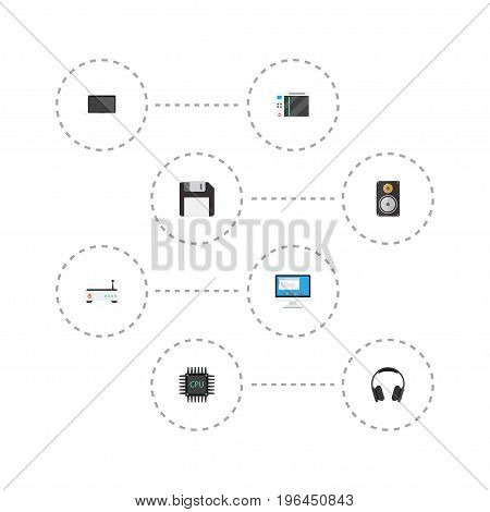Flat Icons Amplifier, Monitor, Display And Other Vector Elements