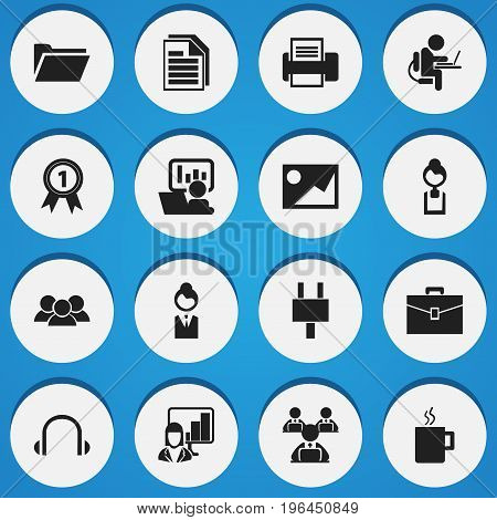 Set Of 16 Editable Office Icons. Includes Symbols Such As Worker With Laptop, Earphone, Group And More