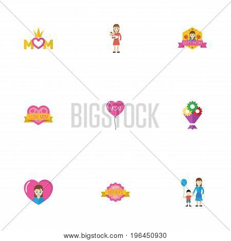 Happy Mother's Day Flat Icon Layout Design With Sticker, Heart And Decoration Symbols
