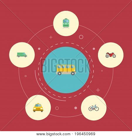 Flat Icons Motorbike, Bicycle, Carriage And Other Vector Elements